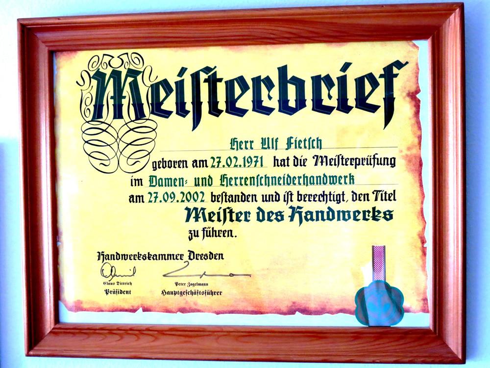 Ulf Fietsch Meisterbrief